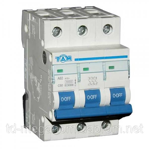Автоматичний вимикач 3 Полюса 50А