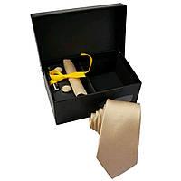 Набор подарочный: галстук узкий 6 см, запонки, платок, зажим, подарочная коробка бордовый GS843-1 Бежевый, фото 1