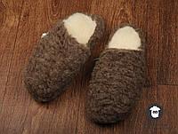 Комнатные тапочки мужские,чуни домашние, чуни из овечьей шерсти, коричневые чуни для дома, фото 1