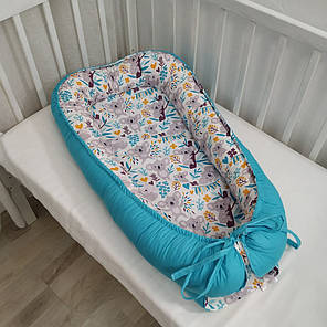 Детский кокон позиционер для новорожденных голубой, фото 2