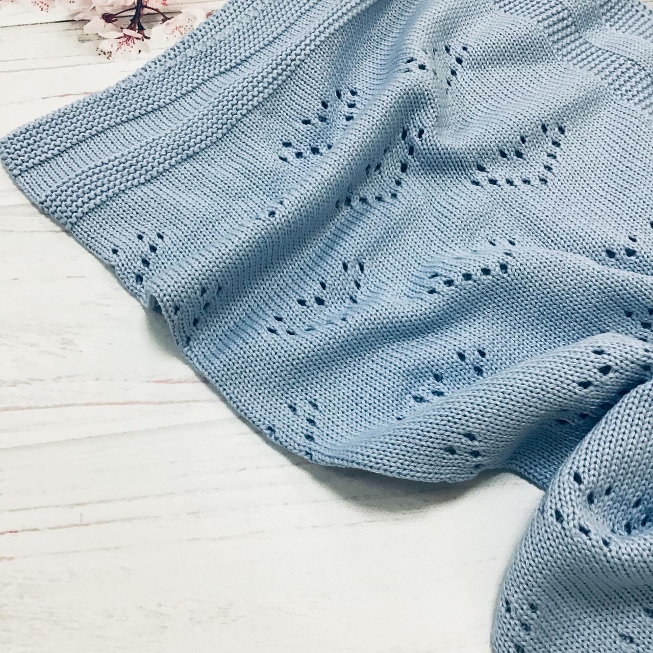 Плед вязанный Валентинка голубого цвета 95*75 см (90% хлопок, 10% акрил)