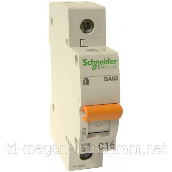 Автоматичний вимикач Schneider 1 Полюс 16А