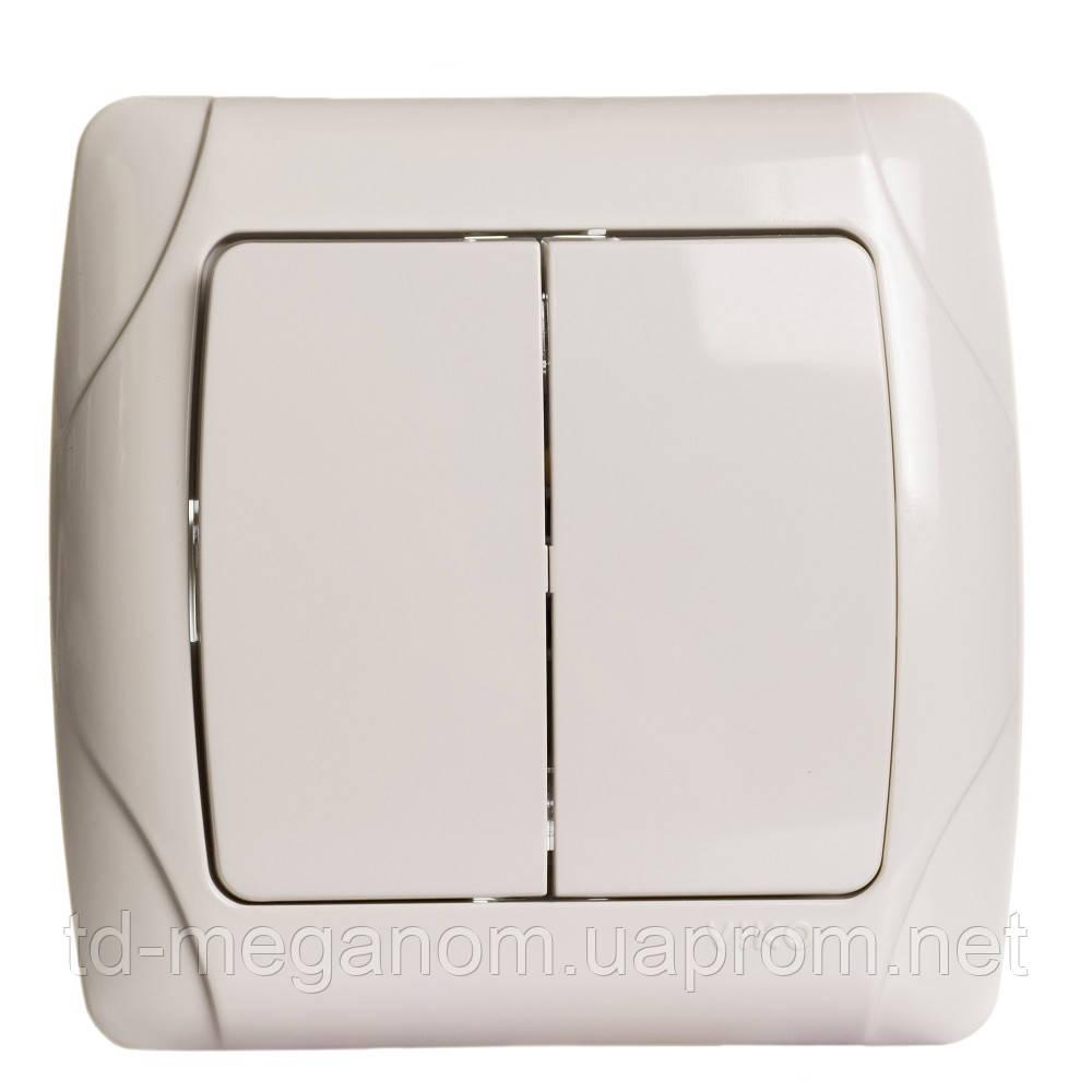 Выключатель встраиваемый 2 клавишный Сarmen белый