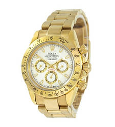 Мужские часы Rolex Daytona AAA Mechanic Gold-White, механические часы Ролекс Дайтона, элитные часы реплика ААА