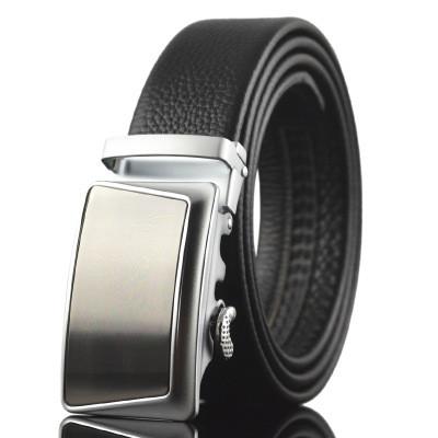 Мужской Ремень Кожаный с Автоматической Пряжкой Пояс (LY87636) Черный 110см
