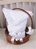 """Конверт-одеяло """"Змейка"""" на выписку, в коляску/кроватку для новорожденного. Белый"""