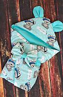 """Демисезонный конверт-одеяло """"Ушки"""" на выписку для новорожденных деток"""
