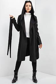 Осенняя мантия кардиган TARA черного цвета на флисе с капюшоном и внешними швами