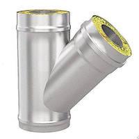 Тройник 45 ф160/220 с теплоизоляцией нерж/оцинк 0,8 мм (дымоход)
