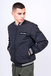 Утепленная куртка бомбер с полосатыми манжетами