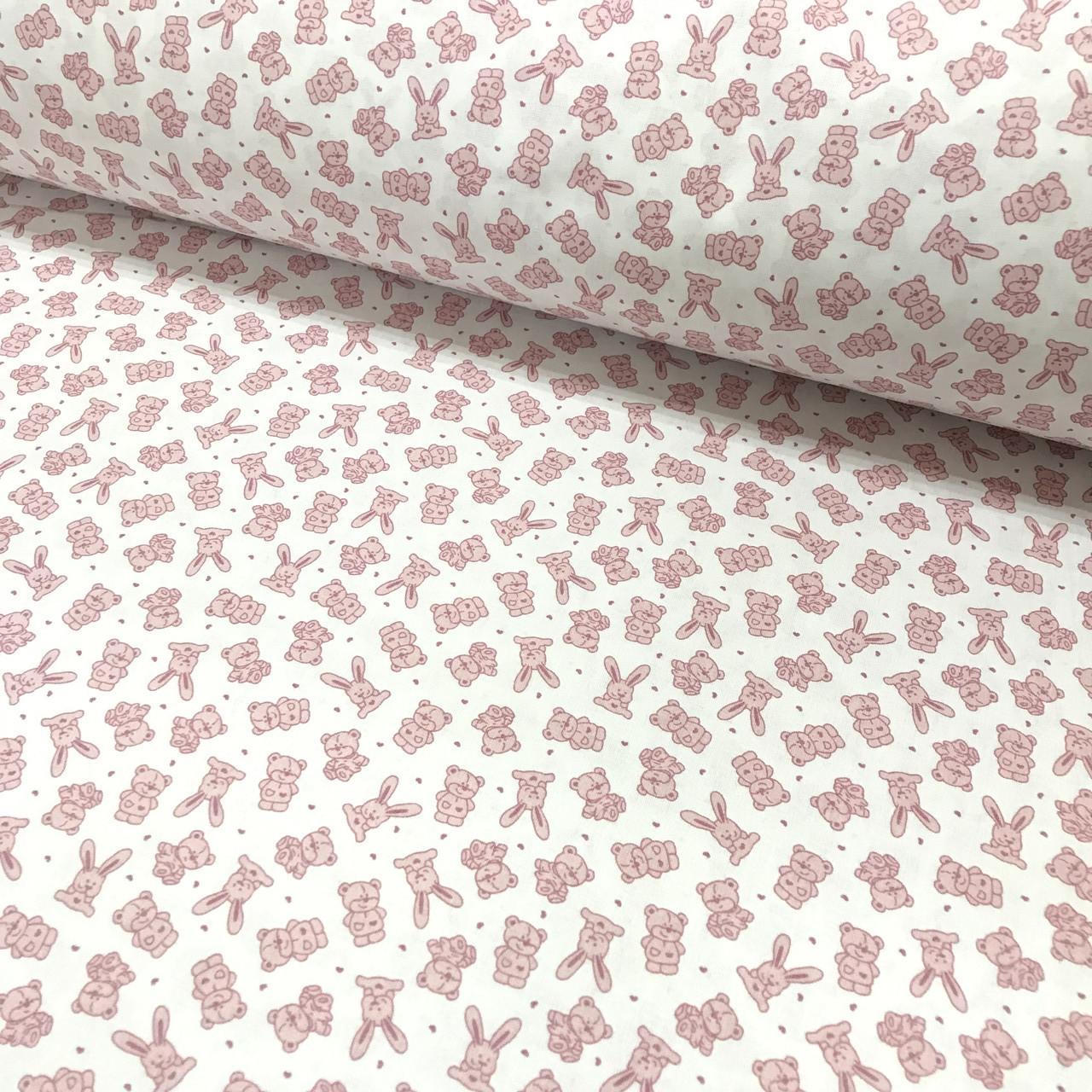 Хлопковая ткань польская зайчики и мишки мелкие пудровые на белом