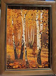 """Картина з бурштинової крихти """"Березовий гай"""", пейзаж 20х30 см"""