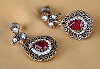 Серьги османские красный камень.