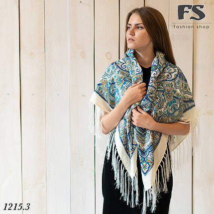 Кремовый павлопосадский шерстяной платок Гжель, фото 2