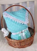 """Конверт-одеяло """"Змейка"""" на выписку, в коляску/кроватку для новорожденного. Мятный"""