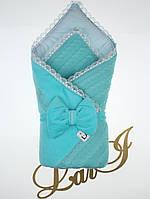"""Конверт-одеяло """"Дуэт"""" на выписку, в коляску/ кроватку для новорожденного. Бирюзовый"""