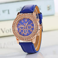 Часы женские Женева Geneva стразы два ряда синие 53-04