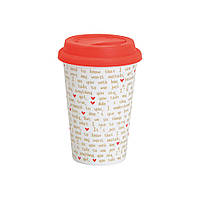 """Термокружка """"Mug to go love"""" червона, біла, фото 1"""