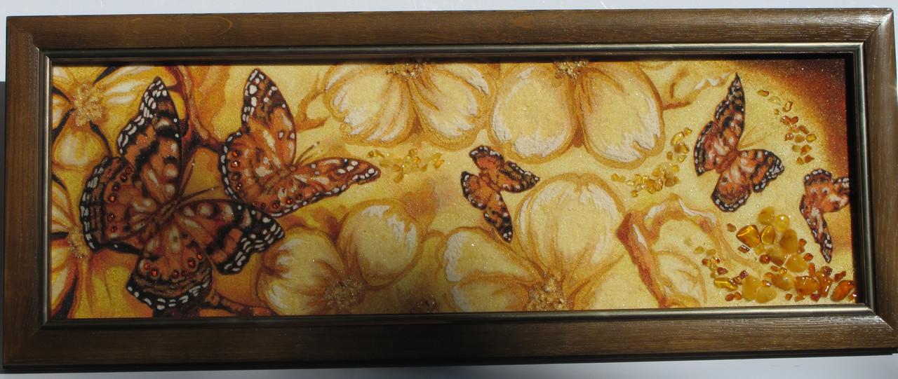 """Картина из янтарной крошки """"Бабочки в золотых цветах"""" 20х60 см"""