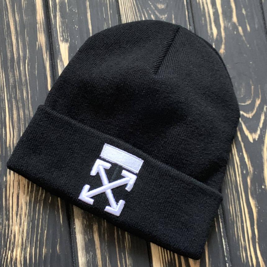Мужская шапка Off White черная, зимняя, фото 2