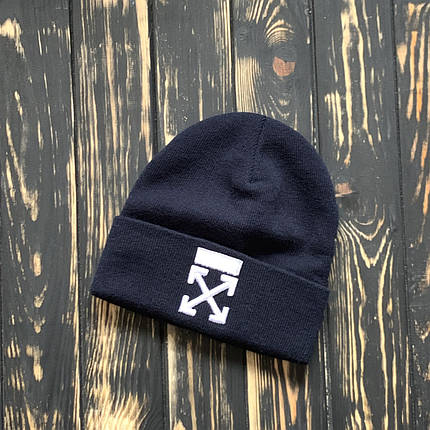 Мужская шапка Off White синяя, зимняя, фото 2