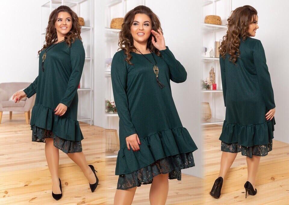 """Шикарное женское платье с воланом и кружевом, ткань """"Креп-Дайвинг"""" 52 размер батал"""