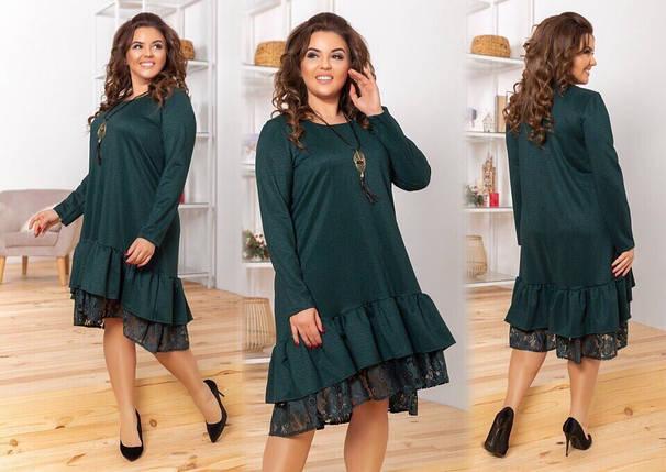 """Шикарное женское платье с воланом и кружевом, ткань """"Креп-Дайвинг"""" 52 размер батал, фото 2"""