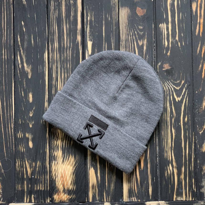 Мужская шапка Off White серая, зимняя, фото 2
