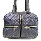 Женские стеганные сумки (ЧЕРНЫЙ-СЕРЕБРО)26*35см, фото 2