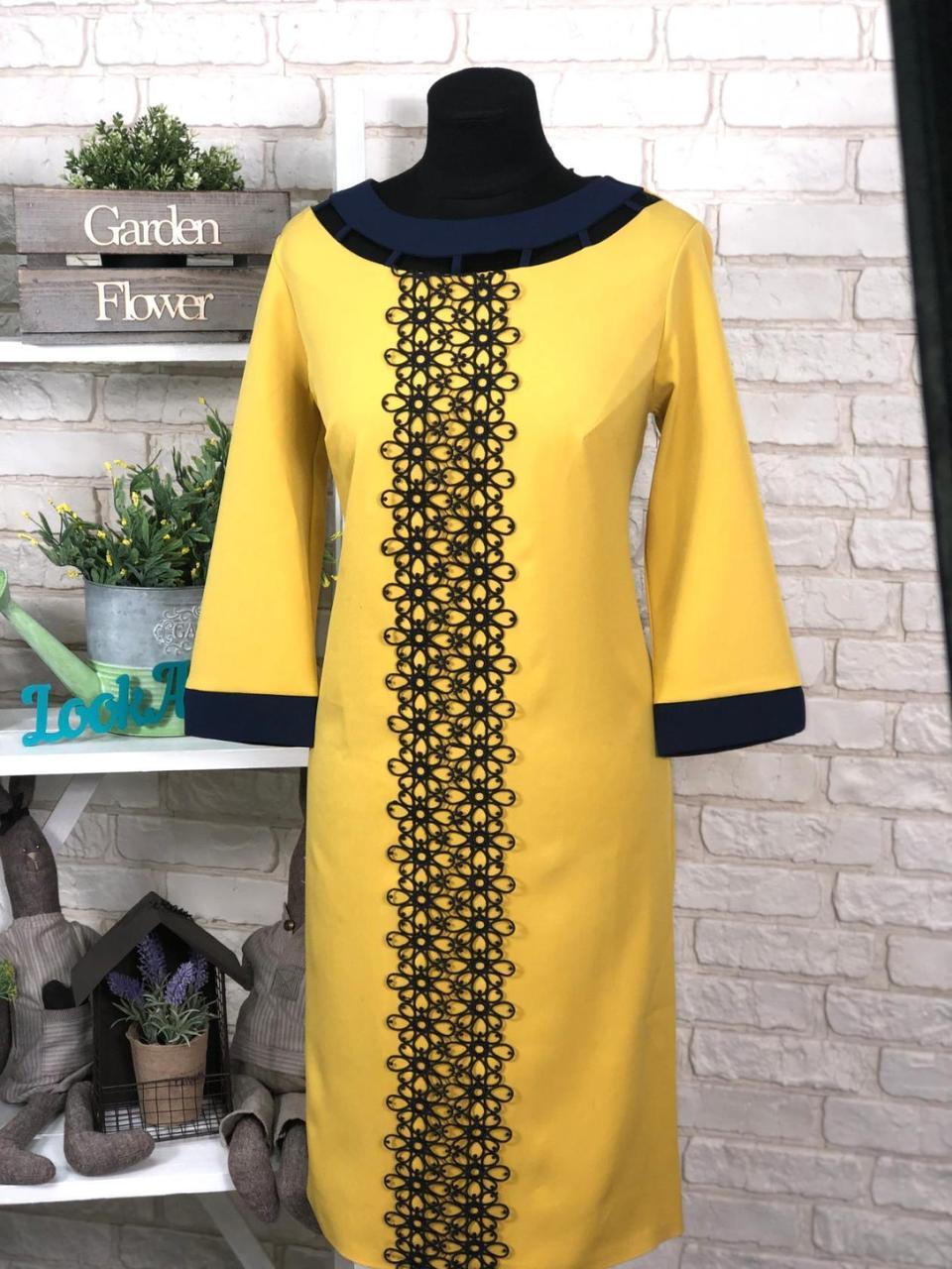 """Шикарное женское платье """"Костюмная"""" с отделкой кружевом 48 размер батал"""