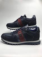 Кросівки шкіряні чоловічі темно-сині. Кроссовки мужские кожаные тёмно-синие.