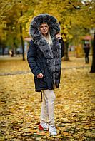 Зимняя женская парка с мехом натурального песца