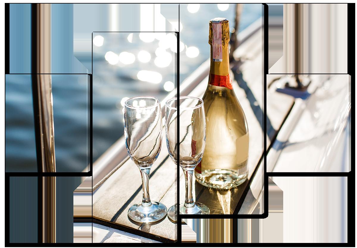 Модульная картина Interno Эко кожа Шампанское и два бокала 166х114см (A3757XL)
