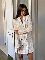 Платье в клетку пиджачного кроя, в клетку и полоску, из габардина тиар на пуговицах с длинным рукавом(42-46)