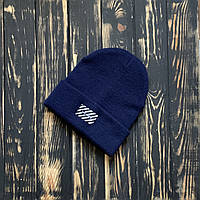 Мужская шапка Off White синяя, зимняя