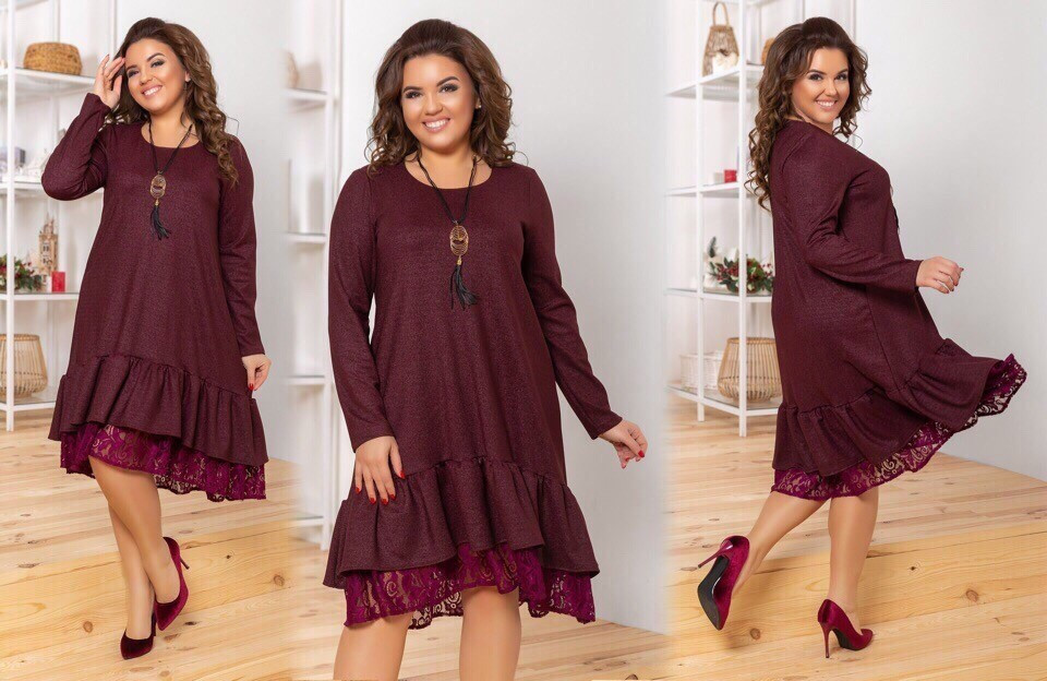 """Стильное женское платье с воланом и кружевом, ткань """"Креп-Дайвинг"""" 50, 52, 54, 56 размер батал"""