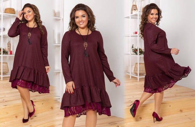 """Стильное женское платье с воланом и кружевом, ткань """"Креп-Дайвинг"""" 50, 52, 54, 56 размер батал, фото 2"""