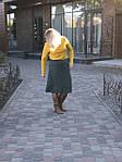 Юбка из плотного замша малахитовая Ю 010-1 . зеленая теплая осень-зима, фото 8