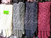 Перчатки женские Митенки трикотаж+вязка на байке ОПТ. Китай 10шт