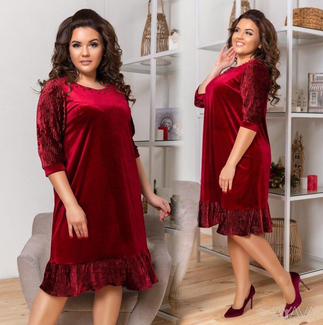 """Шикарное женское платье ткань """"Бархат"""" с плиссировкой 50 размер батал"""