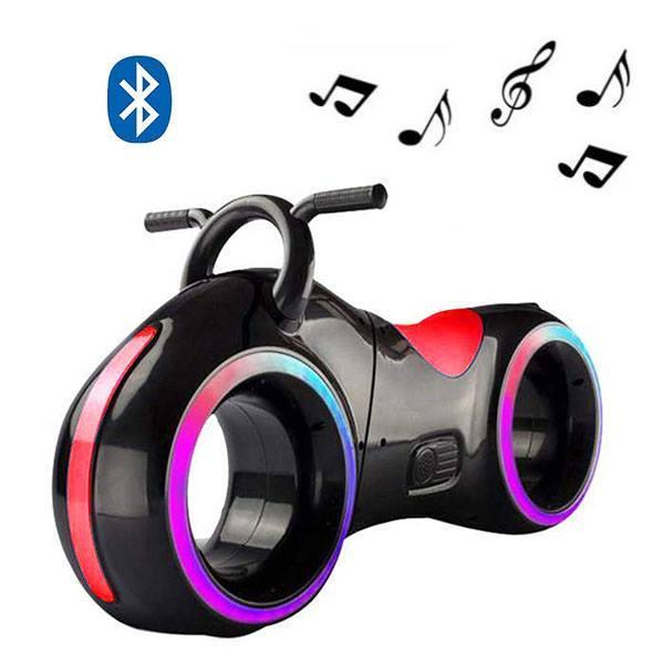 Детский Беговел Tron Bike с Led подсветкой Bluetooth и Динамиками Толокар Чёрно-Красный