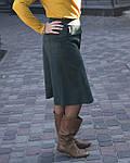 Юбка из плотного замша малахитовая Ю 010-1 . зеленая теплая осень-зима, фото 2