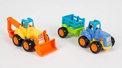 Трактор инерционный HOLA 326AB. 2 вида (с ковшом и с прицепом)