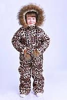 Очень тёплый легкий детский комбенизон с курткой зима, плащевка, иск. овчина, опушка натуральный мех, капюшон