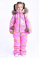 Очень тёплый легкий детский комбенизон с курткой зима, плащевка, иск. овчина, опушка натуральный мех, капюшон, фото 1