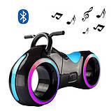 Детский Беговел Tron Bike с Led подсветкой Bluetooth и Динамиками Толокар Чёрно-Бирюзовый, фото 2
