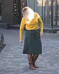 Юбка из плотного замша малахитовая Ю 010-1 . зеленая теплая осень-зима, фото 5