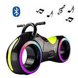Детский Беговел Tron Bike с Led подсветкой Bluetooth и Динамиками Толокар Чёрно-Желтый, фото 2