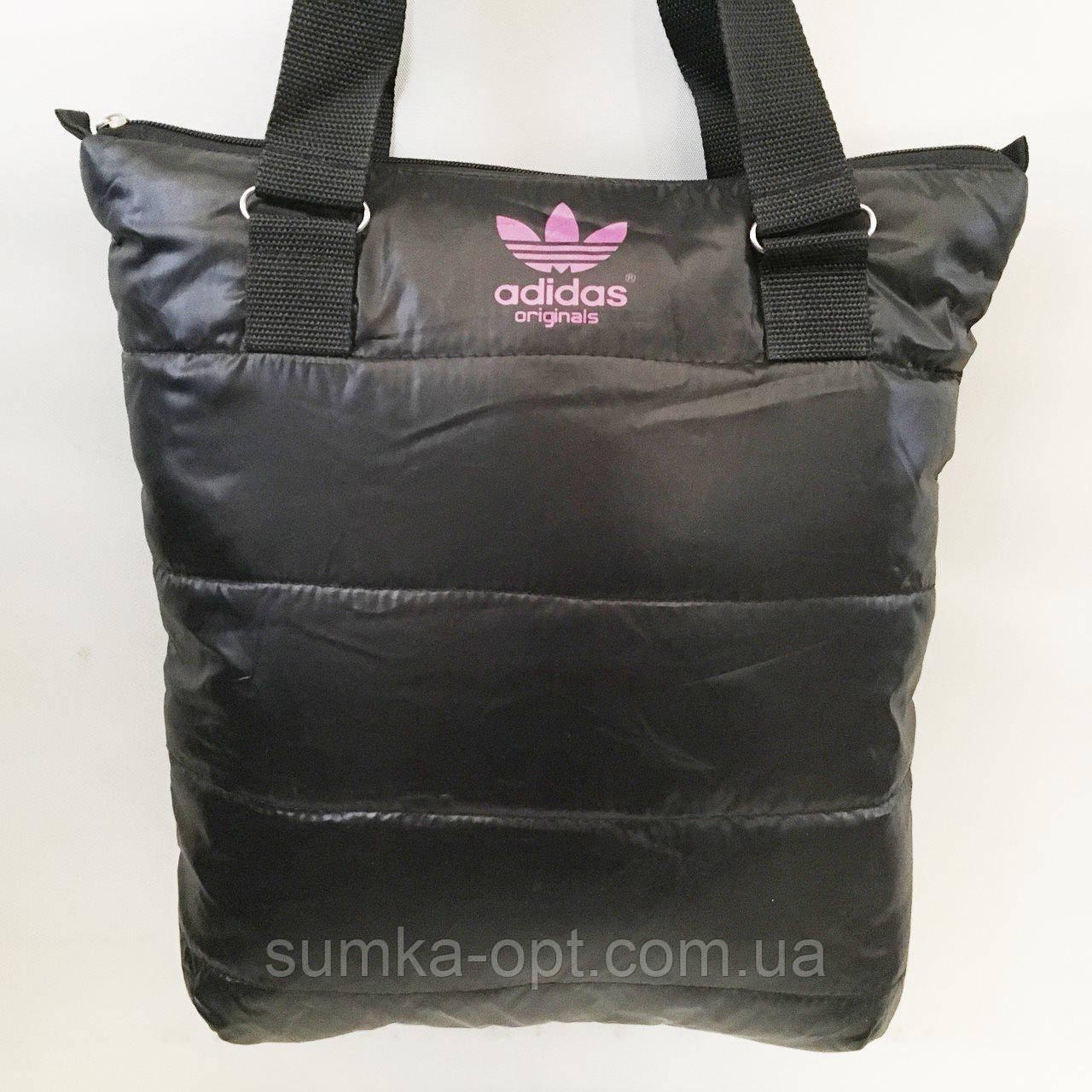 Дутые СПОРТИВНЫЕ сумки под пуховик Adidas (ЧЕРНЫЙ-РОЗОВЫЙ)34*35см