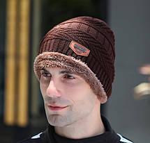 Стильный мужская зимняя шапка, фото 3